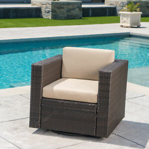 Venice Outdoor Wicker Swivel Club Chair with Water Resistant Cushions