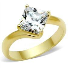 18K GOLD EP 2.0CT DIAMOND SIMULATED PRINCESS RING size 5 or J 1/2