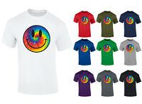 Mens Tie Dye Smiley Face Acid Rave T-shirt S-XXL
