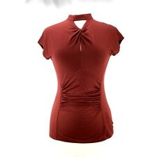 cable & gauge Short Sleeve High Neck Shirt Women's Keyhole Top Red Rust SZ S NWT