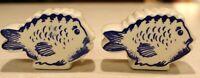Ceramic Blue Fish Salt & Pepper Shakers Vintage Mint Blue & White
