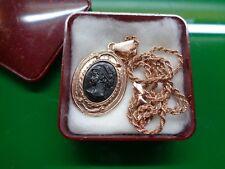 Collana in arg 925 con medaglione e cammeo- Stile borbonico
