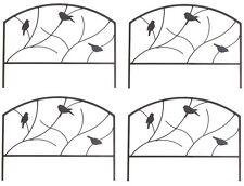 "(4) Panacea 84565 24"" x 18"" Perching Birds Black Steel Garden Border Edge Fence4"