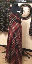 RALPH LAUREN POLO WOMENS XANTI LONG DRESS.  PLAID RED.   SIZE:UK10.     RRP:£500