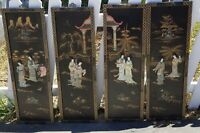 Vintage Japanese Hand Carved Mother Of Pearl Wall Panels