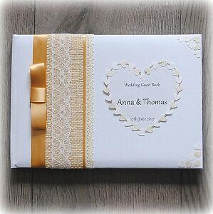 Luxury Personalised Wedding/ Birthday/ Christening Guest Book/ Handmade + Box
