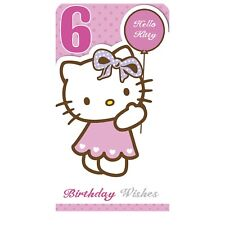 Hello Kitty Age 6 Birthday Card - Open Daughter Niece Granddaughter....