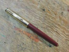 Vintage Custom Burgundy Lined Gold Plated Cap Parker Insignia Fountain Pen F Nib