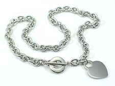 STAINLESS STEEL 316L LADIES LINK TOGGLE HEART NECKLACE CHAIN Choker 18""