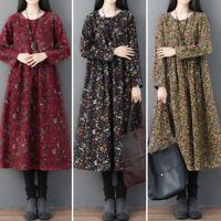 Vintage Femme Robe à Imprimé Coton Floral Manche Longue Ample Party Dresse Plus