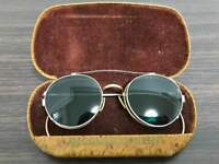 Bausch & Lomb Company 50's Antique Glasses & Removable Sunglasses From JAPAN F/S