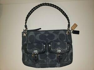 Coach Leather & Denim Blue Navy Satchel Bag