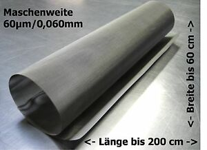 Filtergewebe Edelstahl Mesh Gaze Drahtfilter 0,060mm 60µm  // 30-200x50cm