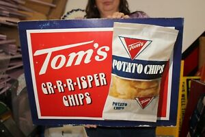 """Vintage 1960's Tom's Potato Chips Grocery Store 24"""" Sign"""
