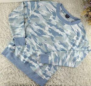 Splendid baby blue camo sweatshirt SIZE  L pullover long sleeve (F)