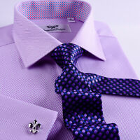 Sexy Purple Herringbone Business Dress Shirt Mens French Cuff Formal Boss Style