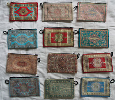 100 Pieces Coin Purse Wholesale! Ethnic Carpet Patterned Zippered Pouch Bag