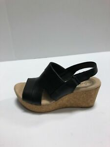 Clarks Annadel Ivory Womens Wedge Slingback Black Leather US6 Wide Sandals