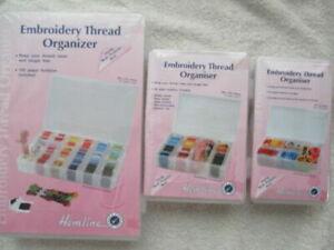 Hemline Embroidery Thread Organiser Floss Box with Bobbins- Small, Medium, Large