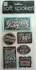 ~WELCOME TO THE WORLD BABY BOY~ Soft Spoken Dimensional Embellishment Stickers