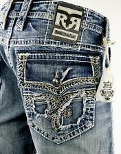 "$245 Mens Rock Revival Jean ""Tiger Stitch"" Leather Inserts Straight Leg 38 X 32"