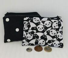 Handmade zippée porte-monnaie Fabriqué avec Argent Panda Tissu
