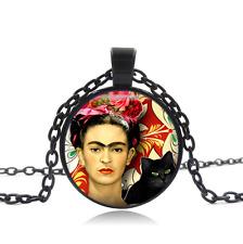 Frida Kahlo Black Glass Cabochon Necklace chain Pendant Wholesale