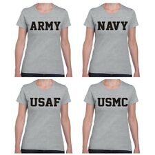 US Army Navy Air Force USAF Marines USMC Ladies JUNIOR Fit T Shirt