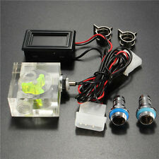 New Water Liquid Cooling 3 Way Flow Meter With Thermometer Blue LED G1/4 Fitting