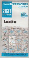 Carte Topographique IGN Boën 2831 Ouest