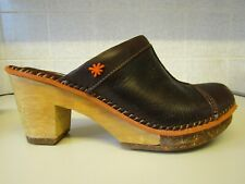 ART COMPANY Brown Leather Clog Mule Sandals Shoes Amsterdam UK 4 EU 37
