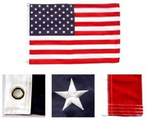 8x12 Foot Embroidered Sewn U.S. USA American 50 Star Nylon Flag 8'x12' grommets