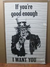 Vintage Poster If good enough I WANT YOU FOR U.S. ARMY UNCLE SAM 1970's inv#2942