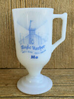 Magic Harbor Myrtle Beach South Carolina Me Vintage Footed Milk Glass Mug