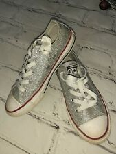 Pre-Owned Converse Girls Silver Glitter Sneakers Size 2