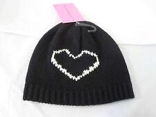 NWT Betsey Johnson Beanie Cap Heart Breaker Black One Size