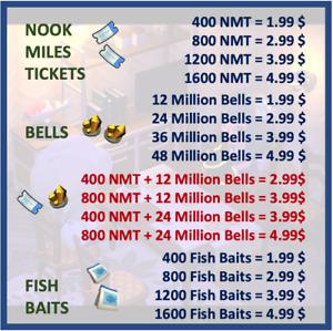Nook Mile Tickets, Bells, Fish Baits, Woods, Iron, Clays, Stones, Sanrio, Arts