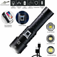 Super Bright XHP90 XHP100 XHP160 LED Flashlight Zoom Torch USB Rechargeable Lamp