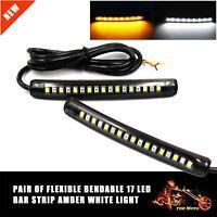 2pcs Car Motorcycle 17 LED Strip Light Tail Turn Signal Indicator Amber/White