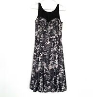 H&M Dress Womens Size 8 Black Pink Floral Print Sleeveless Pleated Mesh Satin