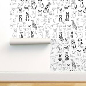 Removable Water-Activated Wallpaper Dog Dogs Dog Pets Black And White Dog Breeds