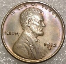 New listing 1912-S Lincoln Cent Uncirculated with Beautiful Toning Key date Unc Wheat Penny