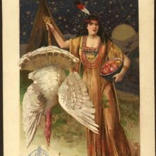 SCHMUCKER... INDIAN MAIDEN WITH WHITE TURKEY,MOON,THANKSGIVING,WINSCH POSTCARD