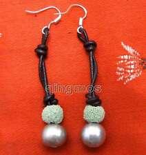 Big 10-11mm Gray potato Natural FW Pearl Dangle Leather earring & Green Lava-431