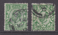 Great Britain Sg 340, 340a used 1912 ½p Kgv, No Cross in Crown variety + normal