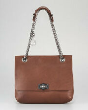 NEW WOMENS LANVIN BROWN LEATHER HAPPY SHOULDER PURSE DUST BAG CHAIN GIFT $2230