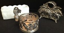 Lot Of Vintage Grape & Leaf Godinger Silver Napkin Bottle Coaster Fire King Vase