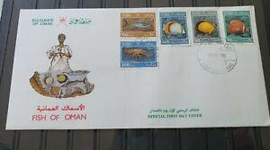 Oman 1985**Sea Marine Life Fishes Fish, crustacians**Mi# 285-289 on UnaddresdFDC