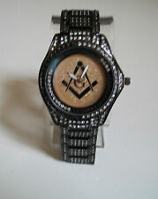 MEN'S BLACK COLOR WITH CLEAR /BLACK FLOATING CRYSTAL MASON FASHION WATCH