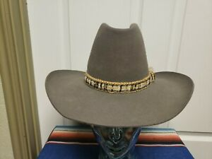 Vtg Resistol Western Hat Size 6 7/8 Gray Woven Cloth Hat Band With Feather